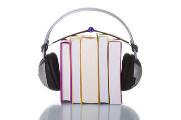 colorful audiobook concept with headphones and books