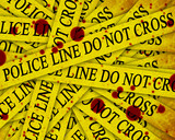 police investigation: collection of police lines with text poster