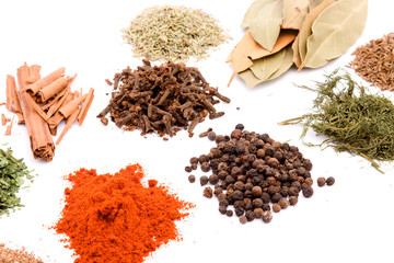 herbal spices studio isolated over white