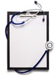 blank clipboard with modern stethoscope, space for messages