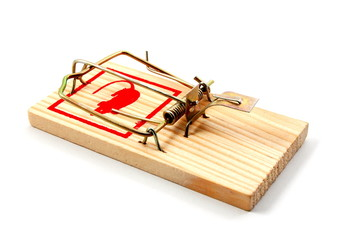 dangerouse mousetrap isolated on white background