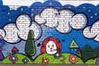 Urban street art. Graffiti on a kindergarten / nursery wall.