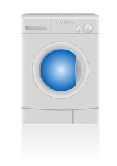 Isolated vector illustration of a washing machine