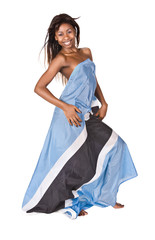 sexy  african girl with botswana flag