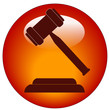 red button or icon of a gavel - hammer of judge or auctioneer