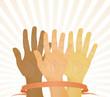 Unanimous vote (hands up). Vector illustration