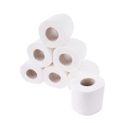 Pile of toilet paper rolls isolated on white background