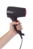 Hand holding a hairdryer isolated on a white background poster