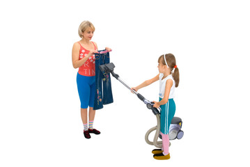 Mam,daughter and a vacuum cleaner on a white background