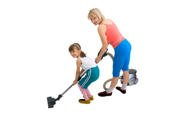 Mum, daughter and a vacuum cleaner on a white background