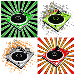Dj turntables on bright grunge background
