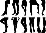 Ten woman legs silhouettes.