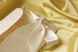 Wedding invitation on yellow silk poster