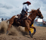 Cowgirl competing in the barrel race poster