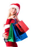 dreamy girl dressed as Santa with shopping bags poster