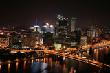 Pittsburgh's skyline from Mount Washington at night. - 10112959