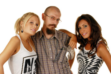 Two attractive females with their male friend, studio shot