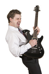 Corporate employee is rocking on the guitar