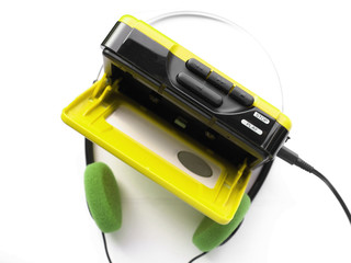 Vintage portable personal stereo tape cassette player
