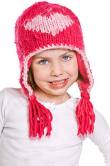 Cute Young Child in Pink Winter Hat