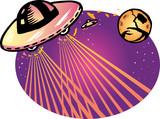 Alien spaceship vector illustration background poster