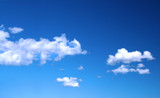 bright summer sky with cumulus clouds poster