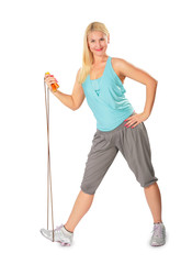 fitness woman with jump rope