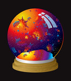 Multi coloured snow globe with flakes of rainbow dust poster