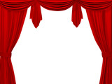 Theatrical curtain of red color. Object over white poster