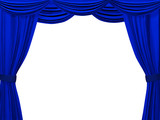 Theatrical curtain of blue color. Object over white poster