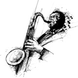 freehanding drawing of a jazz saxophonist