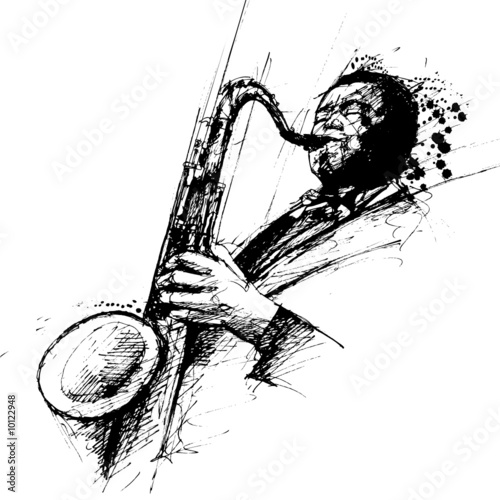 freehanding drawing of a jazz saxophonist - 10122948