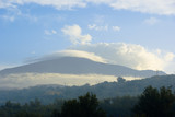 panorama volcano etna cloud cover and fog poster