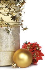 Christmas decoration and bottle on white background. Shallow DOF