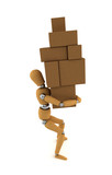 Wooden mannequin carrying heavy moving boxes poster