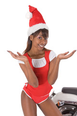 sexy  african american mother claus girl
