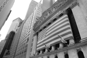 Wall street in Manhattan's financial district, New York city