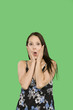 woman expression with stress over green screen
