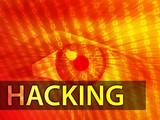 Hacking illustration, eye over digital data information poster