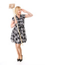 happy blond housewife with broom & vacuum cleaner poster