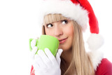 dreamy girl dressed as Santa having a cup of tea poster