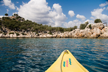 Canoing on the clear waters of the Turkish Mediterranean.
