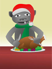 Gargole eating turkey dinner wearing a santa hat