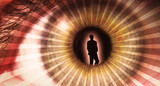 Pupil of an eye with a silhouette of a man poster