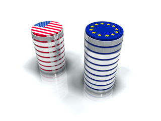 Devises et conversion taux euro dollar
