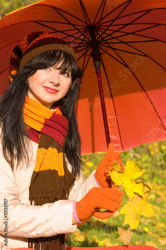 Young pretty woman in the autumn park.