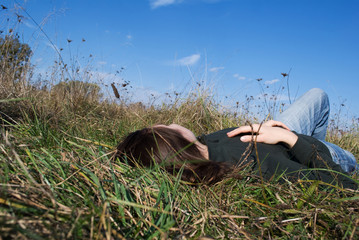 Women relaxing on the grass