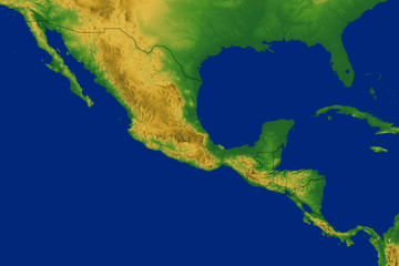 Mexico Map with Terrain