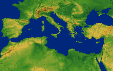 Mediterranean Region Map with Terrain