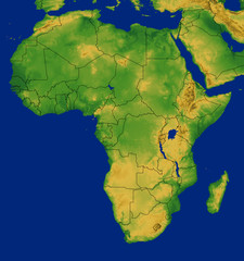 Africa Contient Map with Terrain